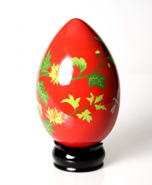 Rotes Ei -handbemalt - mit Ständer und Intarsien - EDEL -