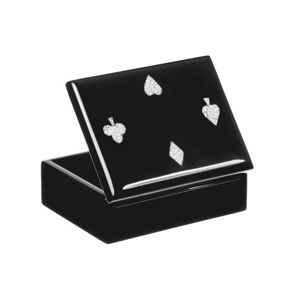 Box für Spielkarten mit Eierschalenintarsien