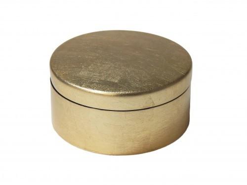 Dose rund mit Deckel 10 cm Durchmesser Gold auf Blattsilber