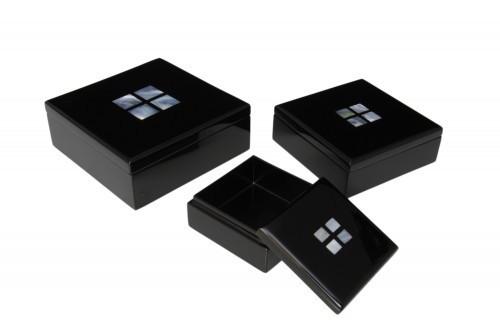 3-teilig Box-Set mit Perlmutt-Intarsien ineinander stapelbar Pianolack Holz Handarbeit