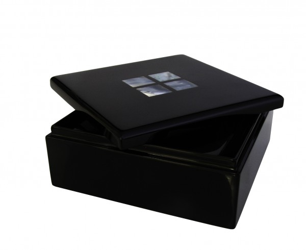 Utensilienbox mit Perlmuttintarsien 10 x 10 x 4 cm