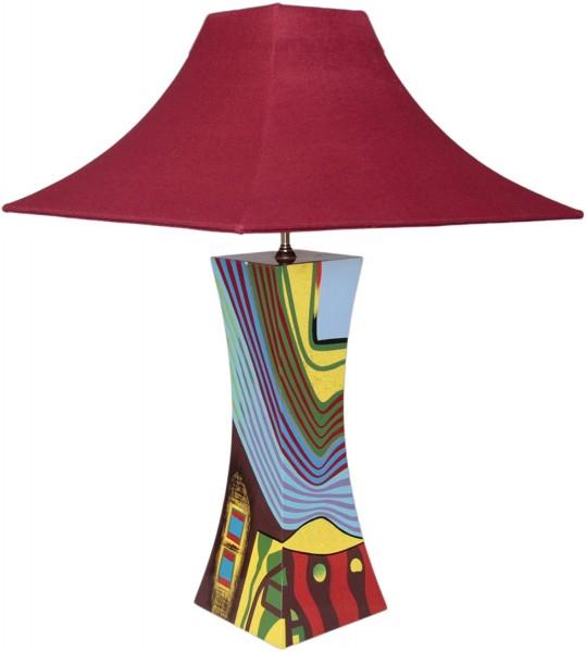 Tischlampe, Motiv Abstrakt, 40cm, 12-fach Pianolack