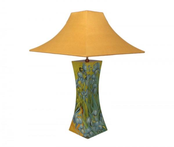 Tischlampe, Motiv Blumen, 40cm, 12-fach Pianolack