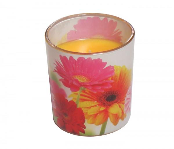 Bolsius Windlicht im Glas mit Blumenmotiv, dezenter Duft