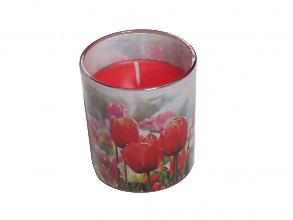 Bolsius Windlicht im Glas mit Tulpenmotiv, dezenter Duft