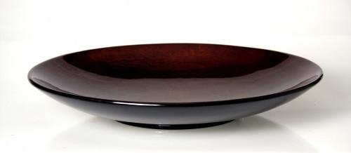 LAQ Design - Schale Ø 50 cm Holz mit Pianolack überzogen - Braun mit Streifenmuster