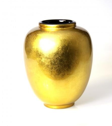 LAQ Design - Vase Holz mit Pianolack überzogen - 25 cm - Handarbeit - Gold auf ECHTEM Blattsilber