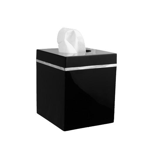 Kleenexbox Quadratisch Schwarz mit Perlmuttrahmen