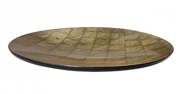 Schale, 40cm, Gold auf Blattsilber, Lackveredelung