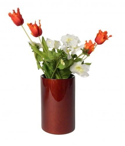 LAQ Design - Vase Holz mit Pianolack überzogen - 18 cm hoch - Handarbeit - Rotbraun mit Sprenkelmust