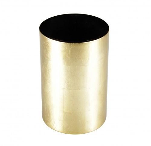 LAQ Design - Vase Holz mit Pianolack überzogen - 18 cm hoch - Handarbeit - Gold auf Blattsilber