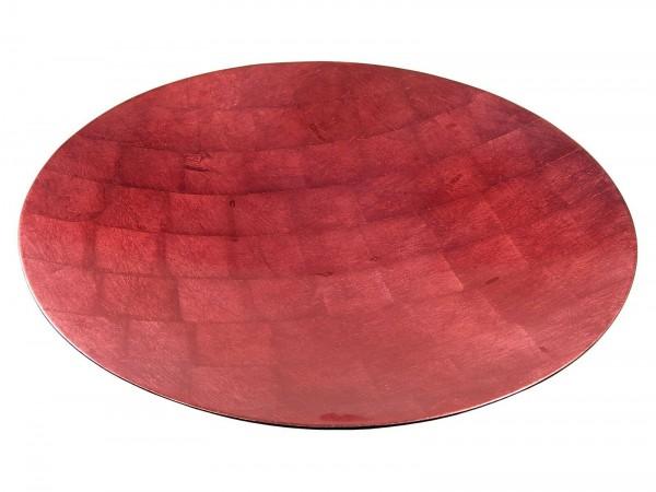 Schale, 40cm, Rot auf Blattsilber, Lackveredelung