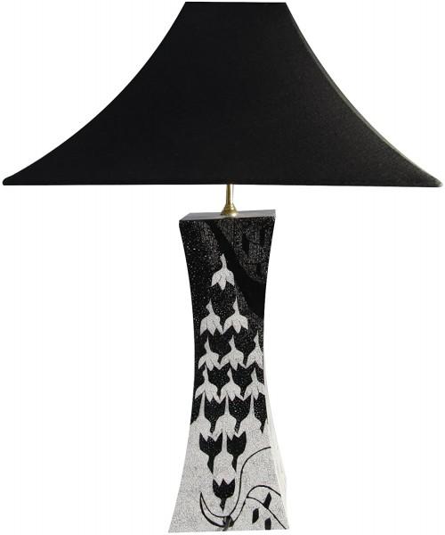 Tischlampe, Eierschalenintarsien, ähnlich Escher, 12fach Pianolack