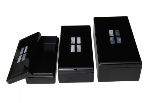 Box, Behälter, Kasten, Kästchen, Schachtel, Schatulle -Set 3-teilig mit Perlmutt-Intarsien ineinand