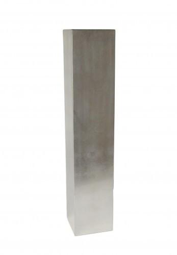 Vase 50cm hoch für Blumen und Deko Holz Pianolack Blattsilber