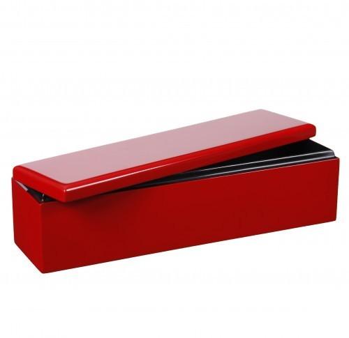 Box mit Deckel Holz Pianolack Handarbeit - Hellrot