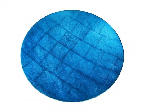 Schale, 40cm, Blau auf Blattsilber, Lackveredelung