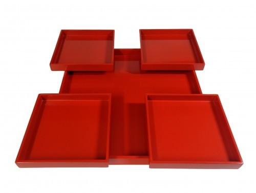 "Tablett-Set, 5-teilig, ""paßt ineinander"" 40x40 cm Pianolack"
