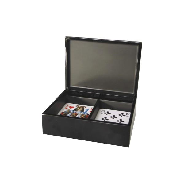 Box für Spielkarten mit Eierschalenintarsien - passend für 2 Kartenspiele