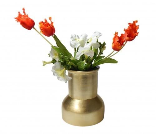 LAQ Design - Vase Holz mit Pianolack überzogen - 19 cm hoch - Handarbeit - Gold auf Blattsilber