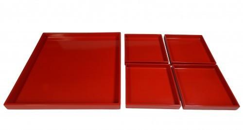"Tablett-Set 5-teilig ""paßt ineinander"" 40x40 cm Pianolack"