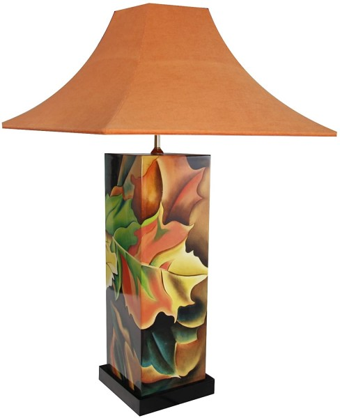 Tischlampe, Motiv Herbst, 40cm, 12-fach Pianolack