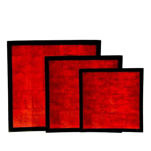 Schalen 3er-Set 100% Natur Holz & Pianolack Rot auf Blattsilber
