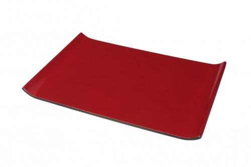 Tablett 34 x 24 cm Holz Pianolack Hellrot