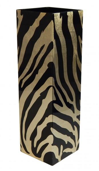 Vase Quadratisch Blattgoldfolie mit Zebramuster