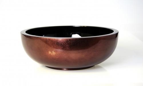 Schale 35 cm - Holz - Pianolack - Schüssel - Braun / Silber