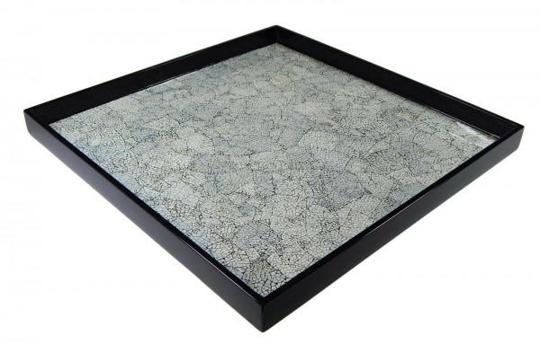 Tablett, 40cm, schwarzer Pianolack mit Gänseeierschalenintarsien