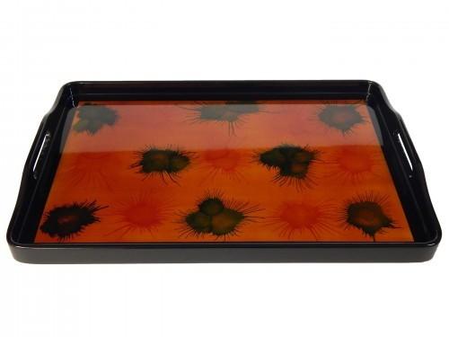 Serviertablett 27 x 40 cm Holz Pianolack, Muster Hellfire