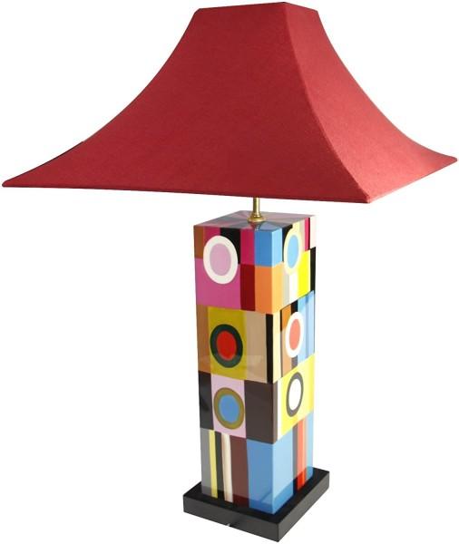 Tischlampe, Abstrakt, ähnlich Miro, 40cm, 12fach Pianolack