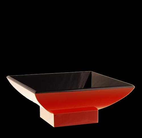 Schale, quadratisch, Rot / Schwarz, Holz, Lacquerware, LAQ