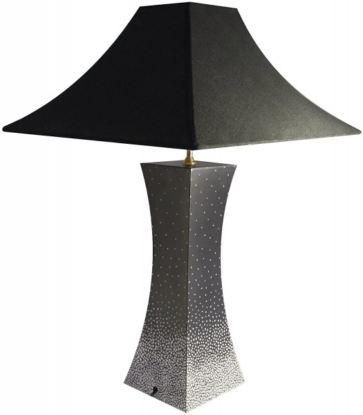 Tischlampe, Motiv Points, Eierschalenintarsien, 40cm, 12fach Pianolack