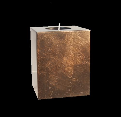 Teelichthalter Pianolack Holz - 10 cm Höhe Bronze auf ECHTEM Blattsilber