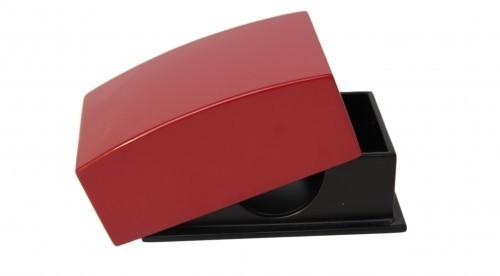 Visitenkartenbox für bis zu 100 Visitenkarten max. 90 x 55 mm Holz Pianolack - Rot